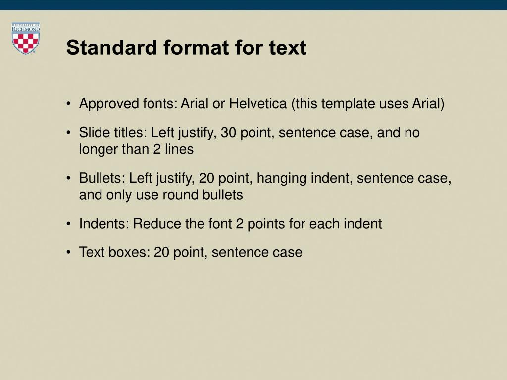Standard format for text