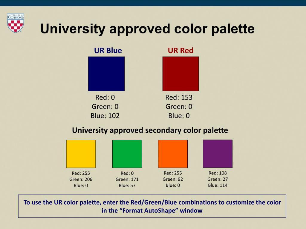 University approved color palette