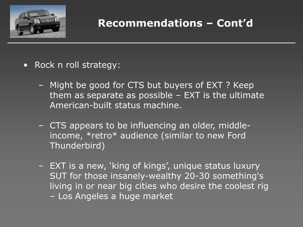 Recommendations – Cont'd