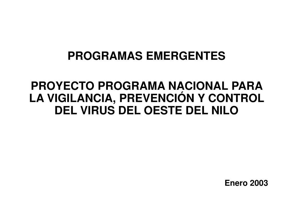 PROGRAMAS EMERGENTES