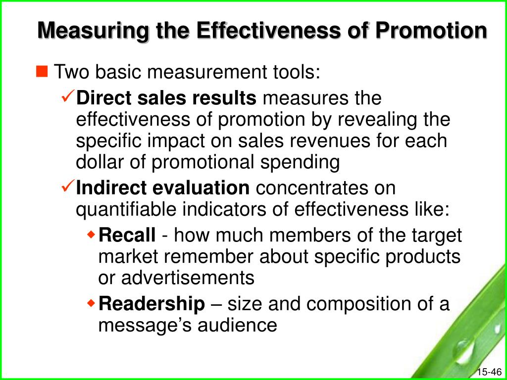Measuring the Effectiveness of Promotion