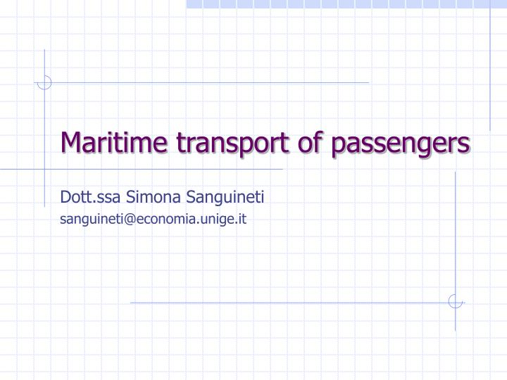 Maritime transport of passengers