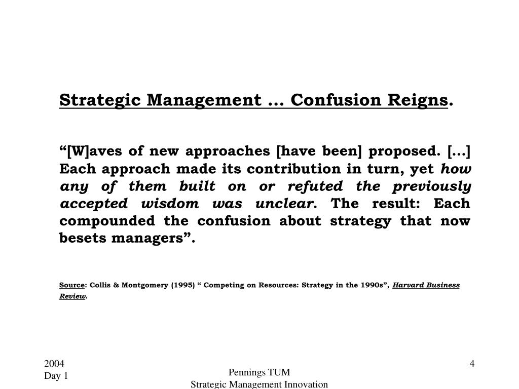 Strategic Management … Confusion Reigns