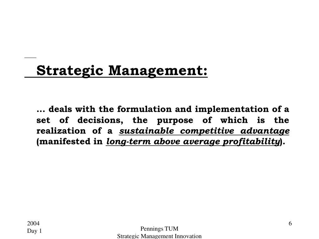Strategic Management: