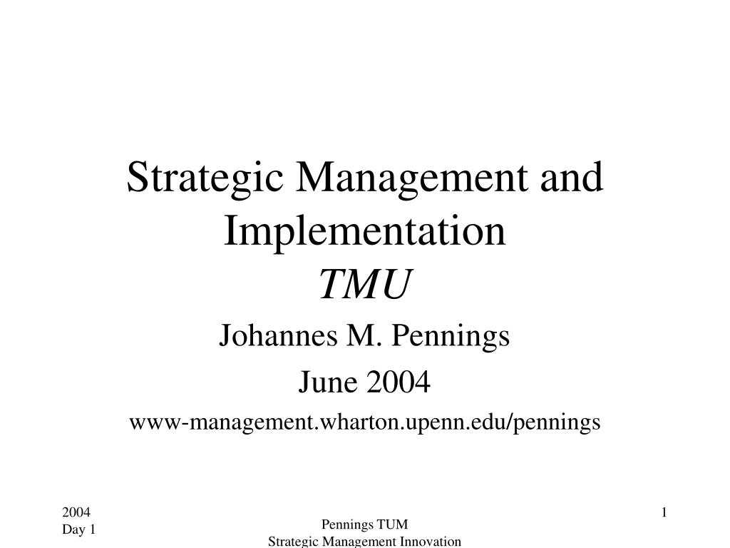 strategic management and implementation tmu l.