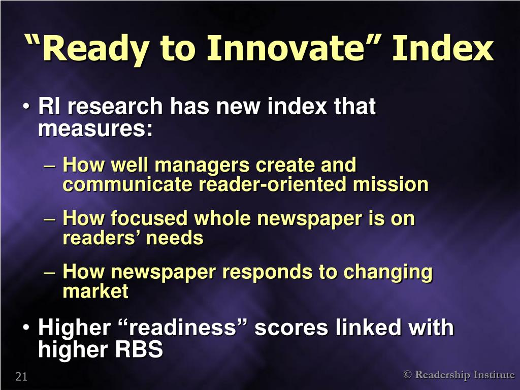 """""""Ready to Innovate"""" Index"""