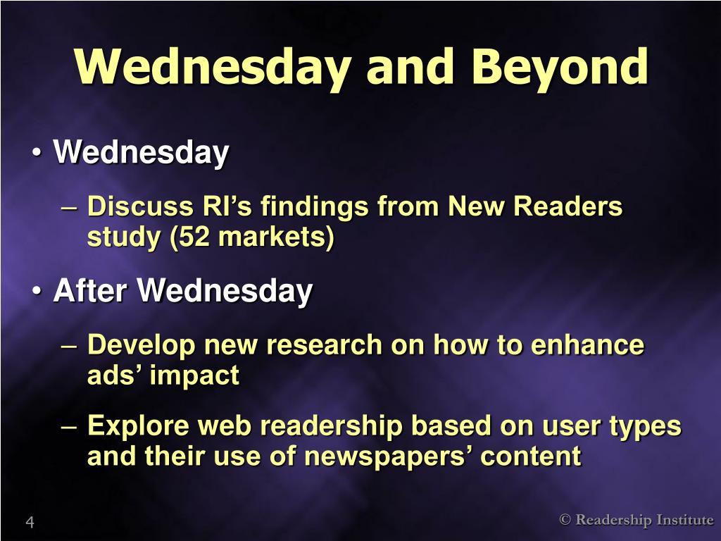 Wednesday and Beyond
