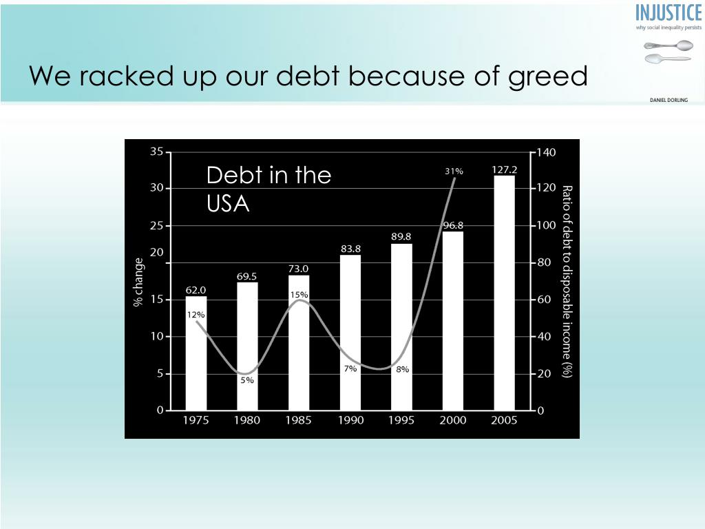 We racked up our debt because of greed