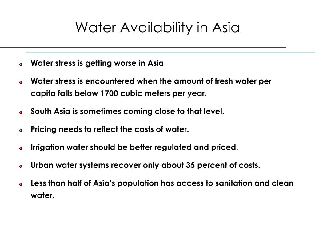Water Availability in Asia