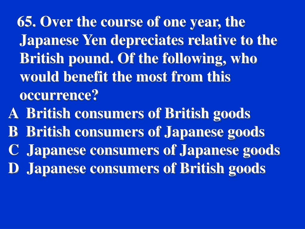 65. Over the course of one year, the Japanese Yen depreciates relative to the British pound. Of the following, who would benefit the most from this occurrence?