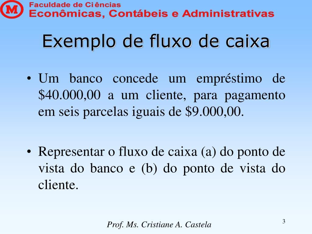 Exemplo de fluxo de caixa