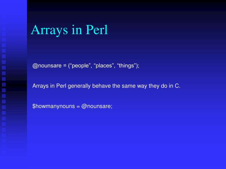 Arrays in Perl