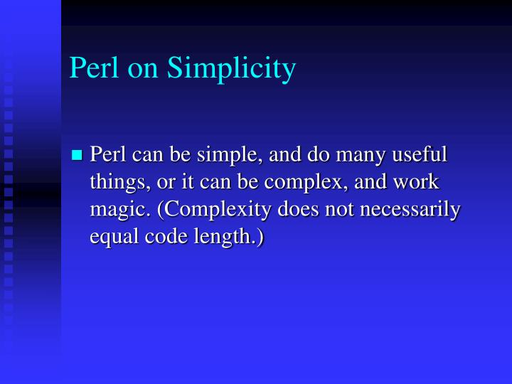 Perl on Simplicity