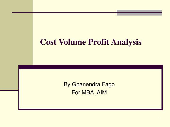 cost volume profit analysis n.