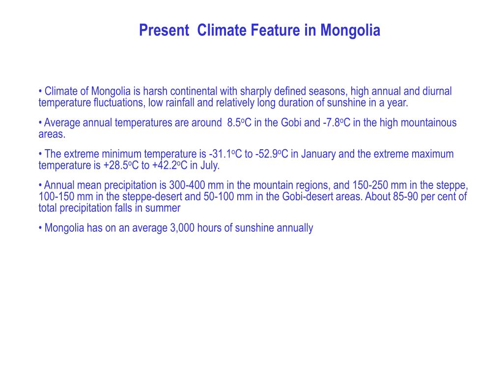 Present  Climate Feature in Mongolia
