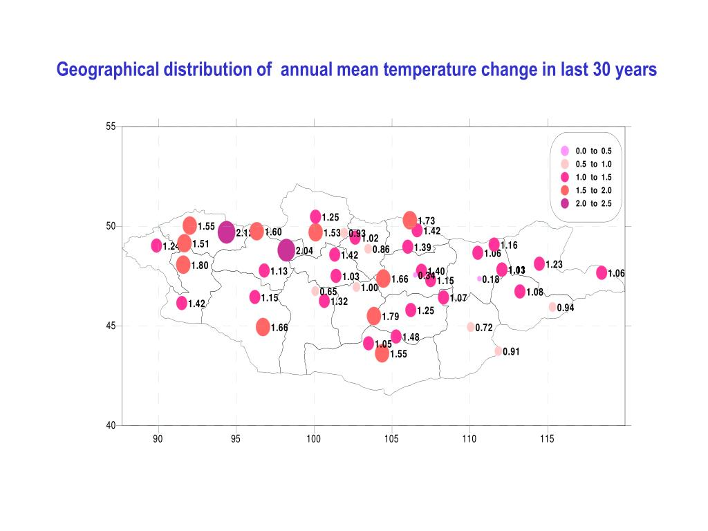 Geographical distribution of  annual mean temperature change in last 30 years