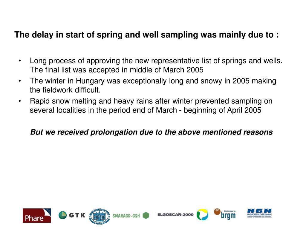 The delay in start of spring and well sampling was mainly due to :