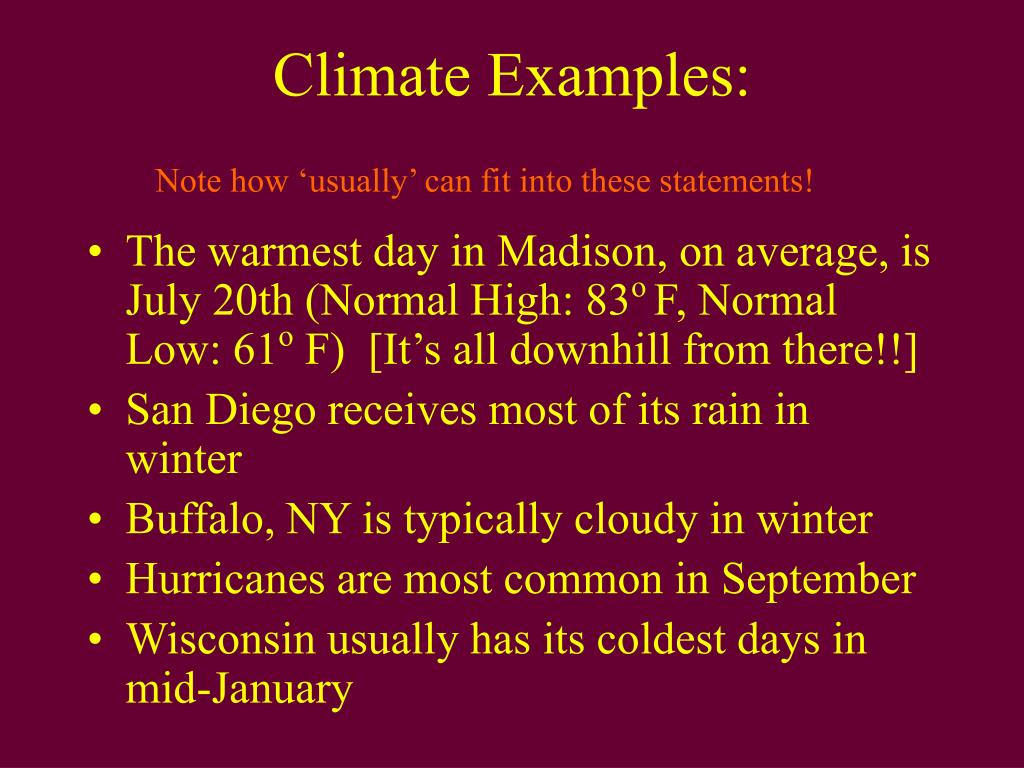Climate Examples: