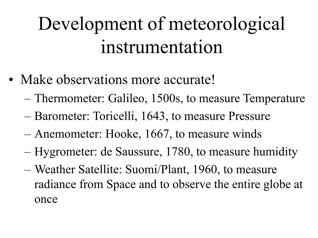 Development of meteorological instrumentation