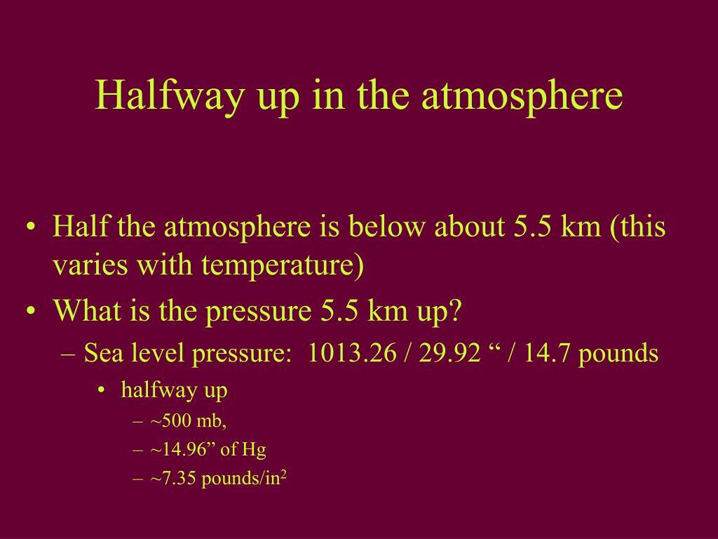Halfway up in the atmosphere