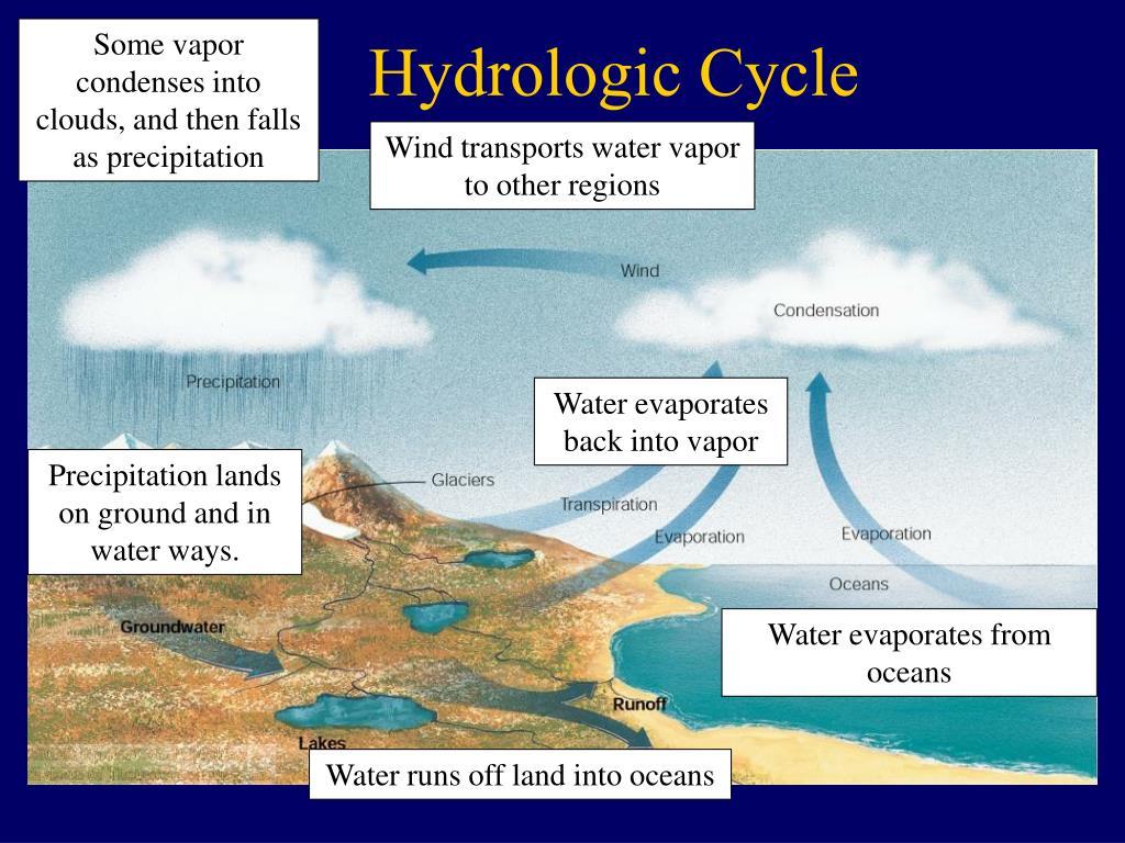 Some vapor condenses into clouds, and then falls as precipitation