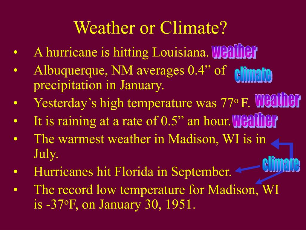 Weather or Climate?
