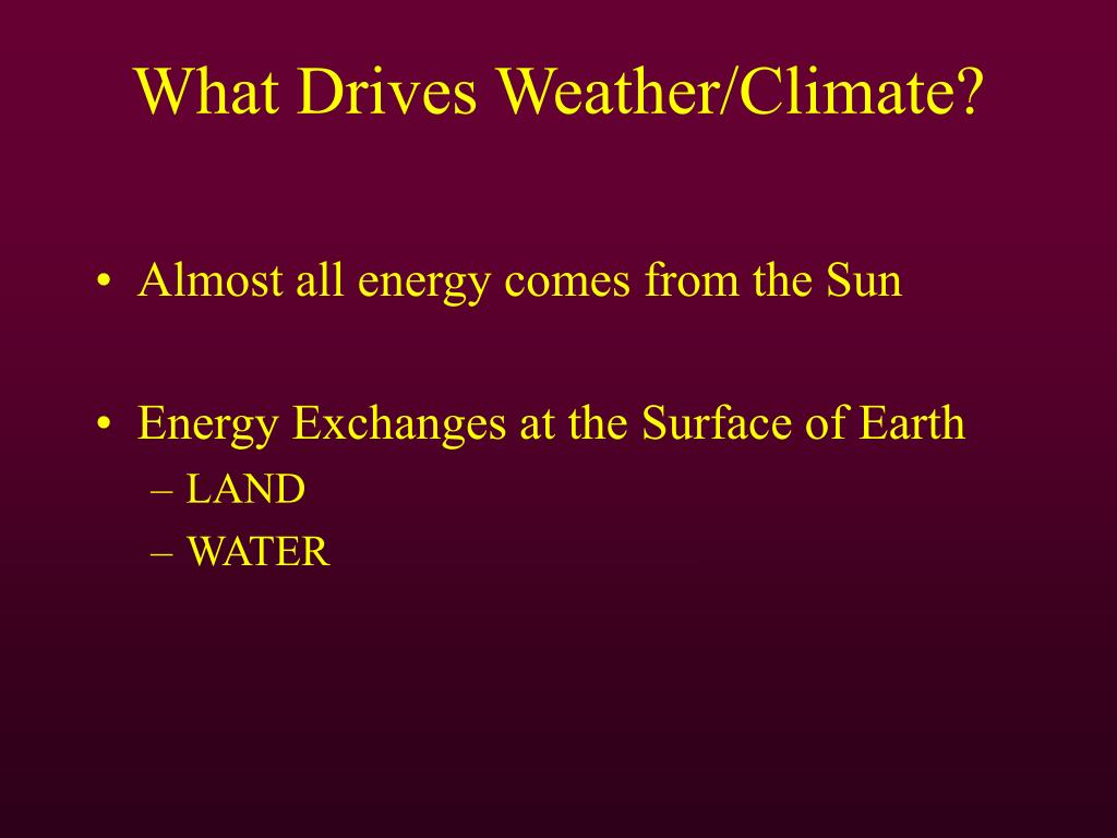 What Drives Weather/Climate?