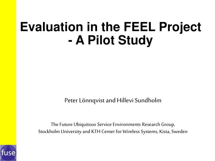 Evaluation in the feel project a pilot study