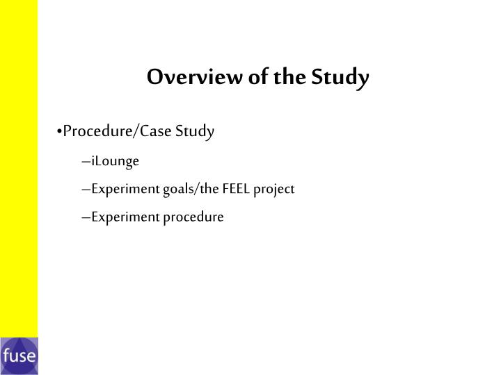 Overview of the study