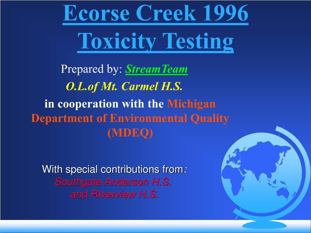 Ecorse Creek 1996 Toxicity Testing
