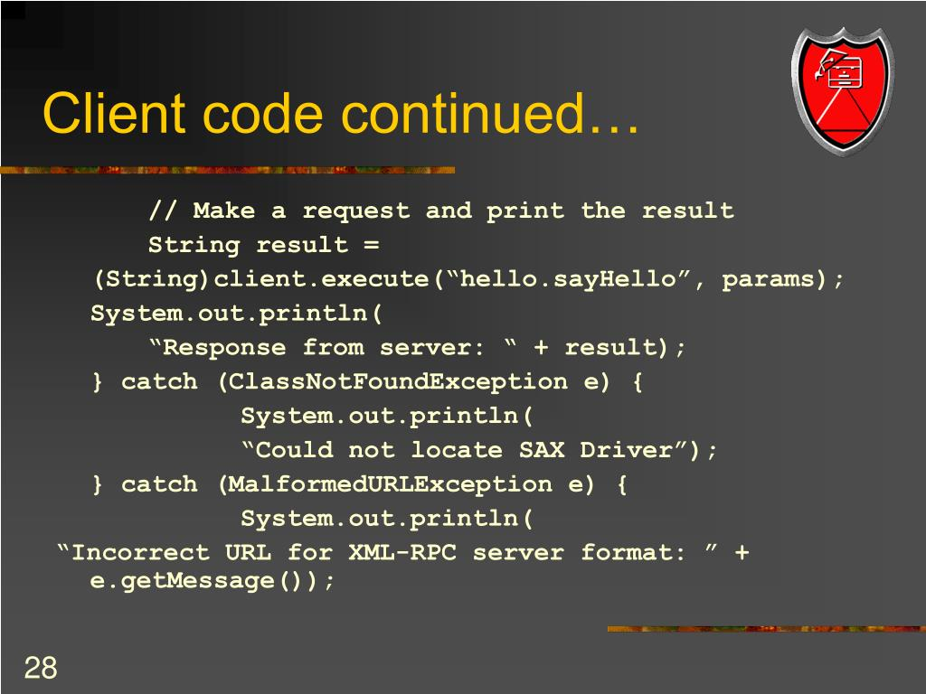 Client code continued…
