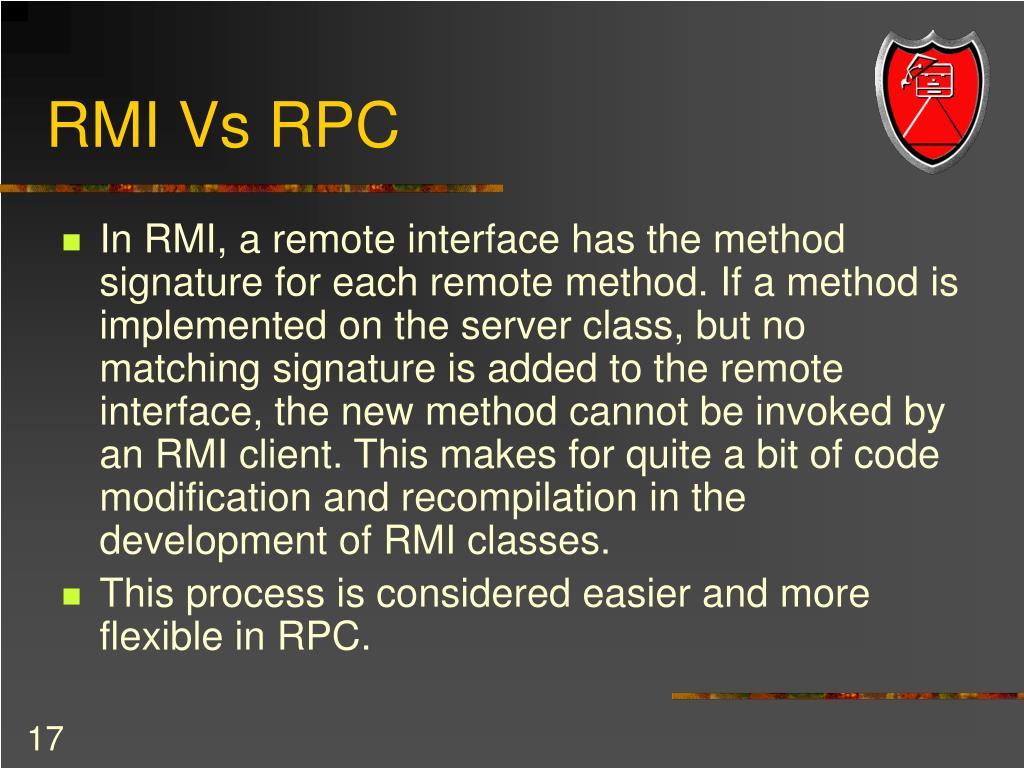 RMI Vs RPC