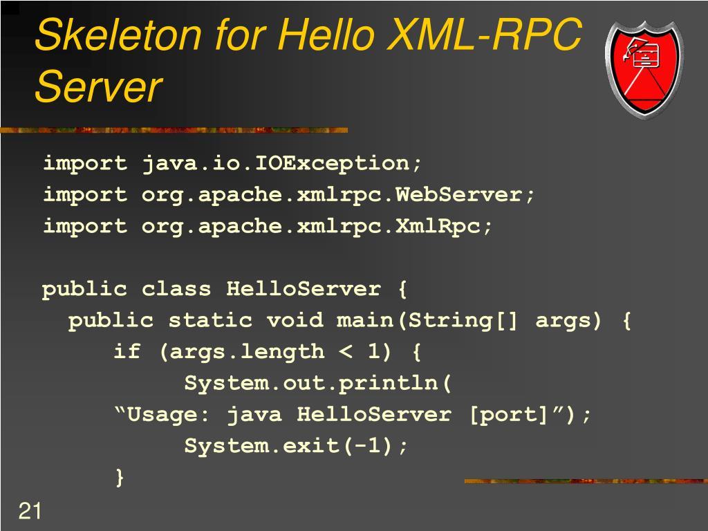 Skeleton for Hello XML-RPC Server