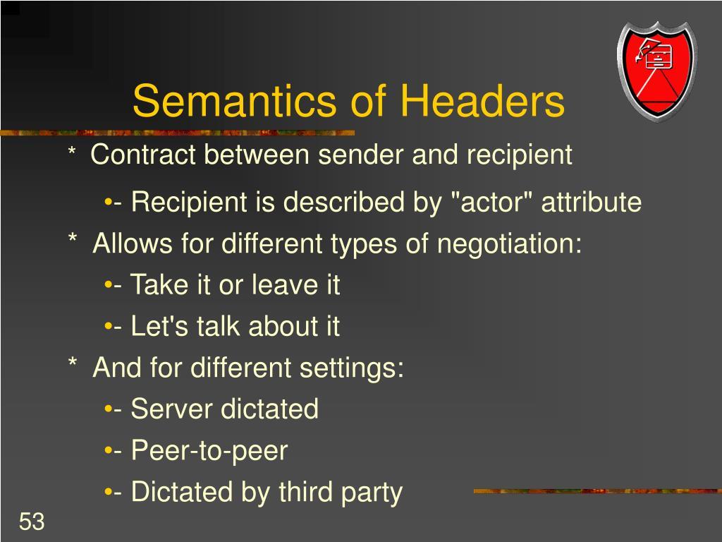Semantics of Headers