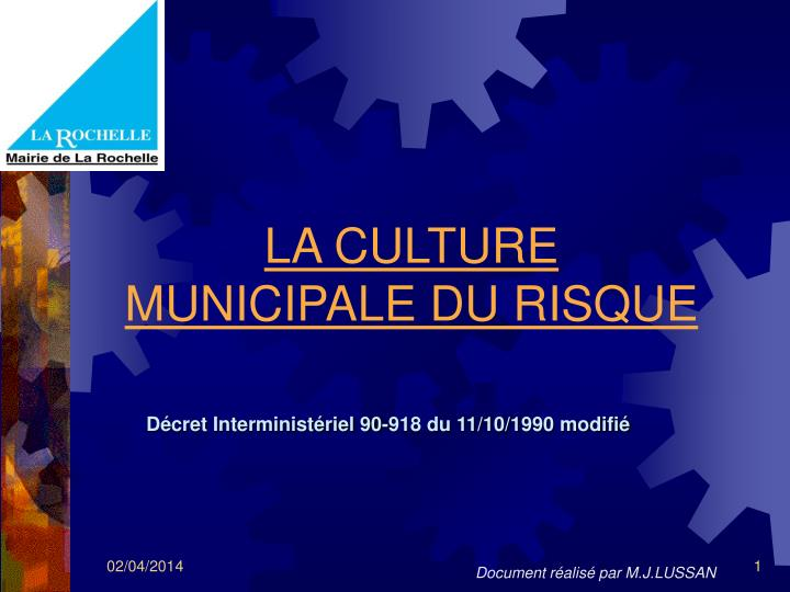 la culture municipale du risque n.