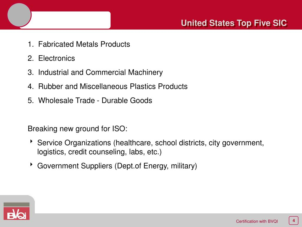 United States Top Five SIC