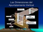 las dimensiones del apuntalamiento vertical
