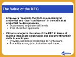 the value of the kec