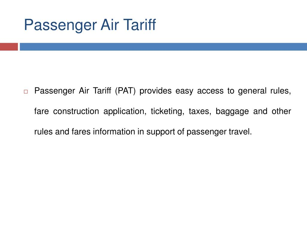 Passenger Air Tariff