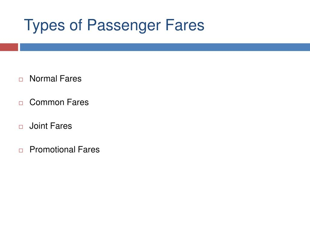 Types of Passenger Fares