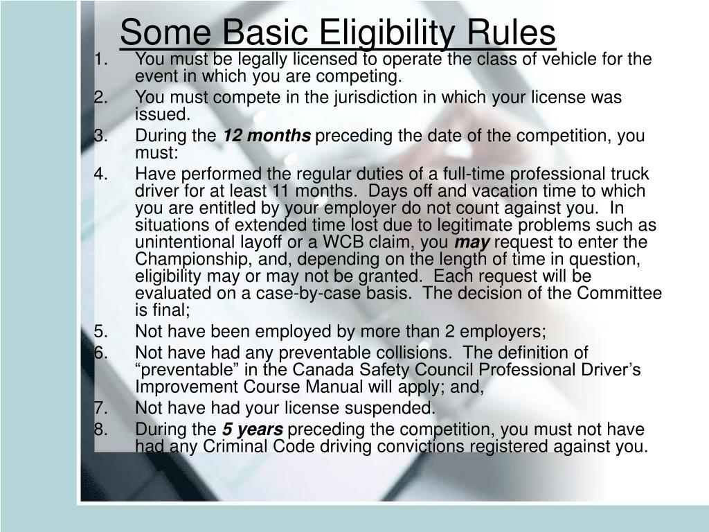 Some Basic Eligibility Rules