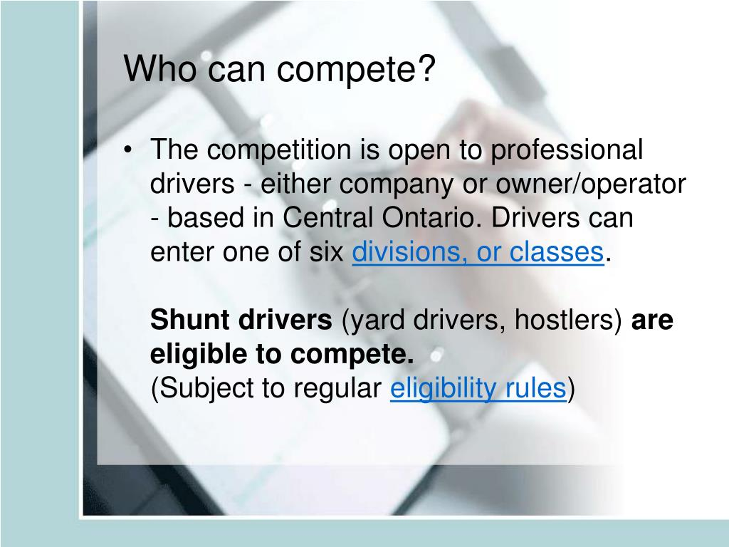 Who can compete?