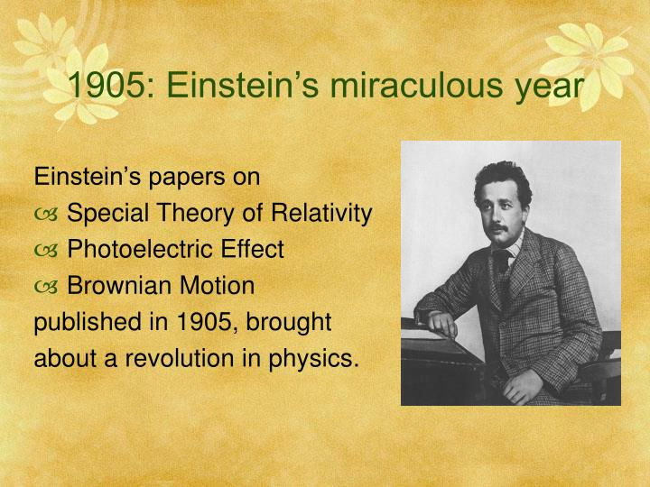 1905: Einstein's miraculous year