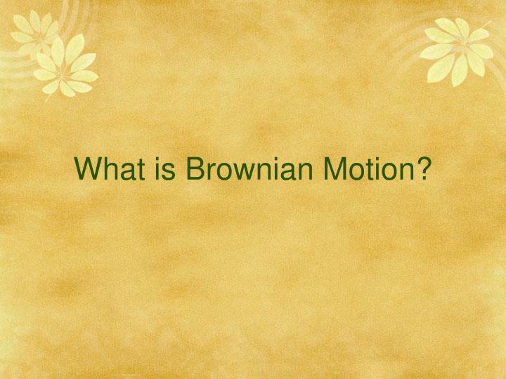 What is Brownian Motion
