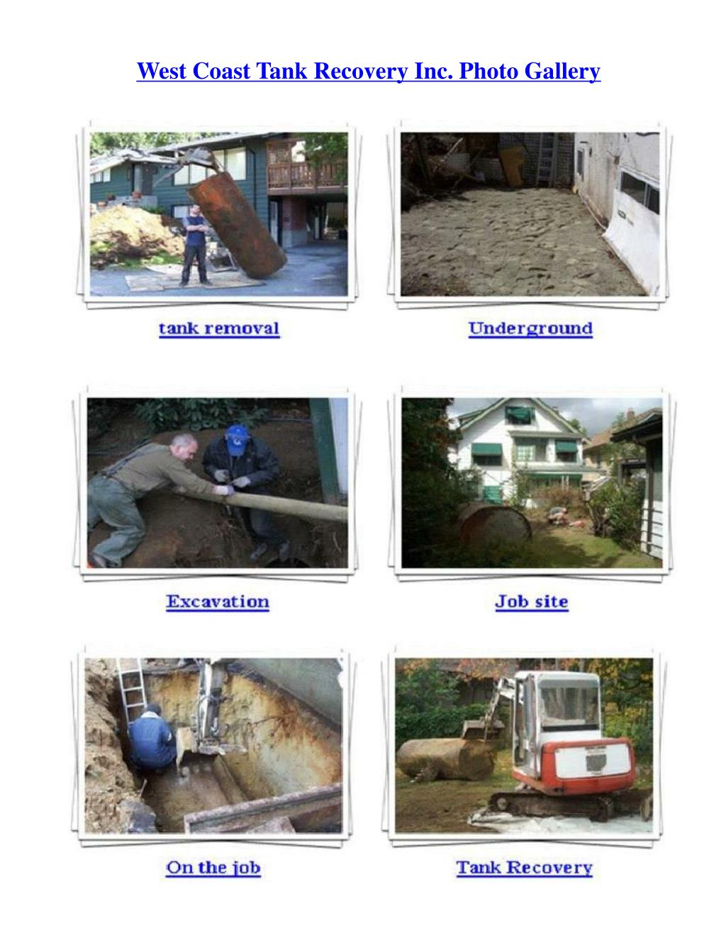 West Coast Tank Recovery Inc. Photo Gallery
