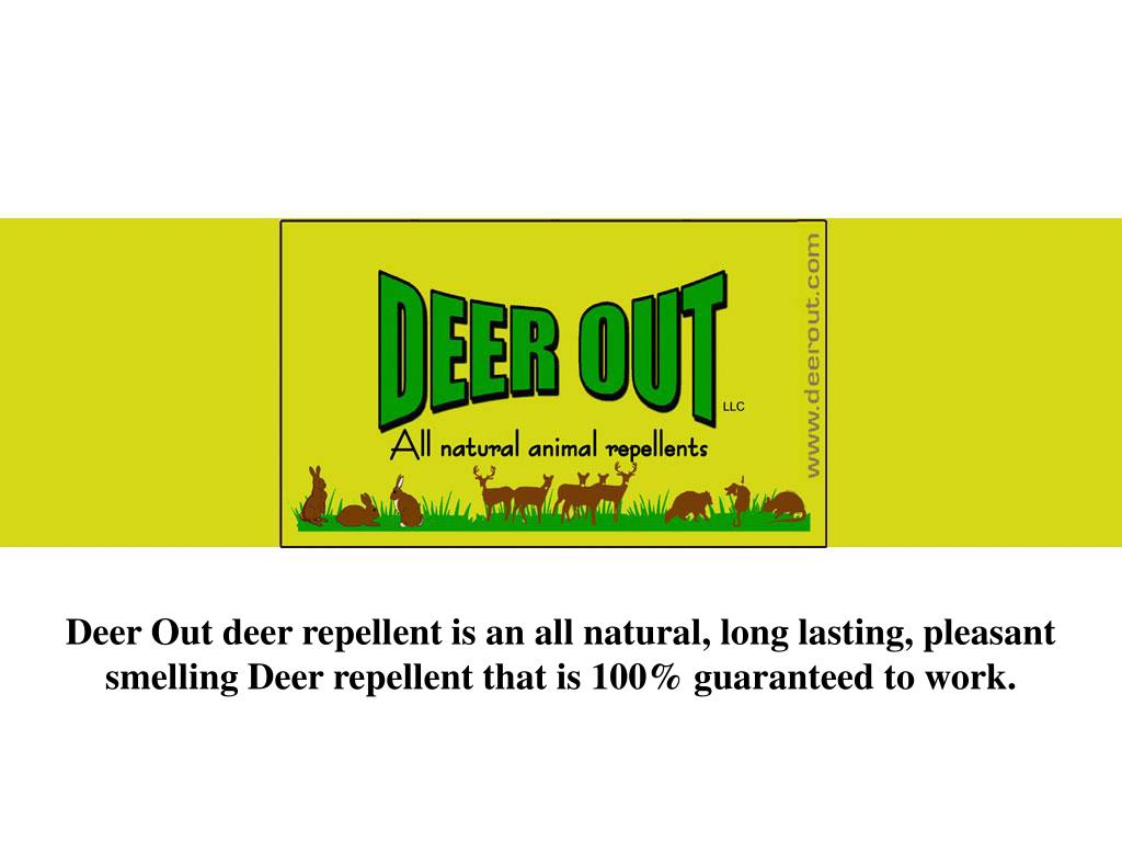 Deer Out deer repellent is an all natural, long lasting, pleasant smelling Deer repellent that is 100% guaranteed to work.