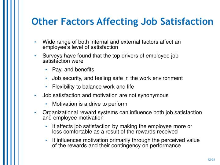 factors affecting employee job satisfaction Factors affecting employee satisfaction of the public and private sector organizations of pakistan  the general purpose of our research is to know about the factors that affect the satisfaction  job employee satisfaction as simply how people feel about their jobs and various aspects of their.