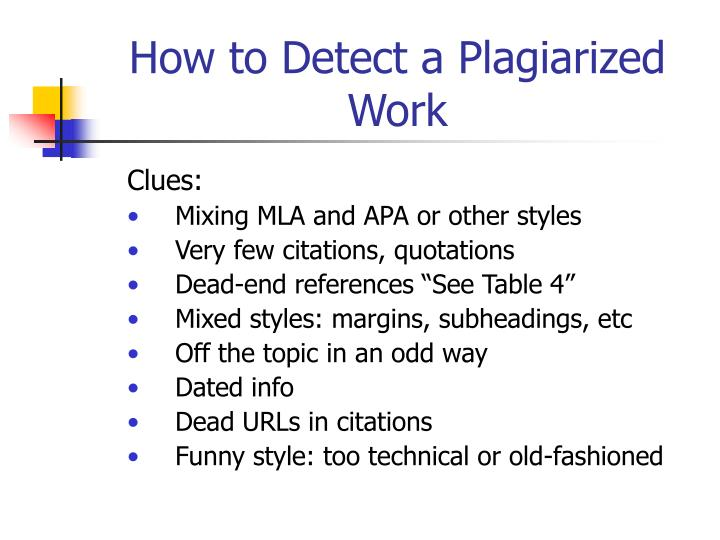How to Detect a Plagiarized Work