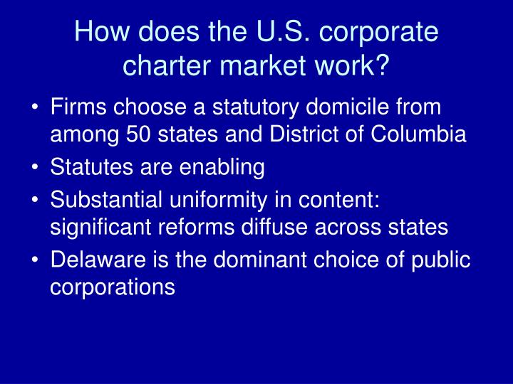 How does the u s corporate charter market work