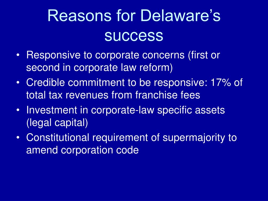 Reasons for Delaware's success